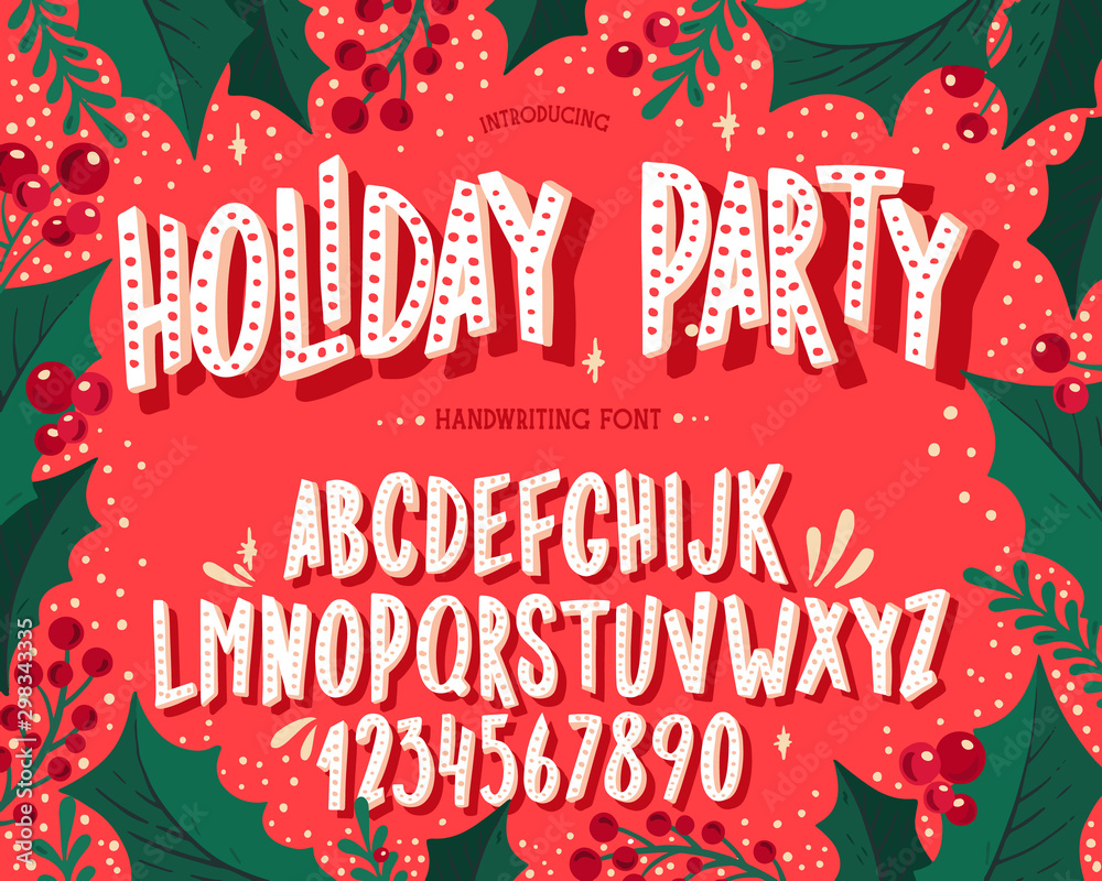 Fototapety, obrazy: Christmas font. Holiday typography alphabet with festive illustrations and season wishes.