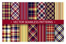 Set Plaid Pattern Seamless. Ta...