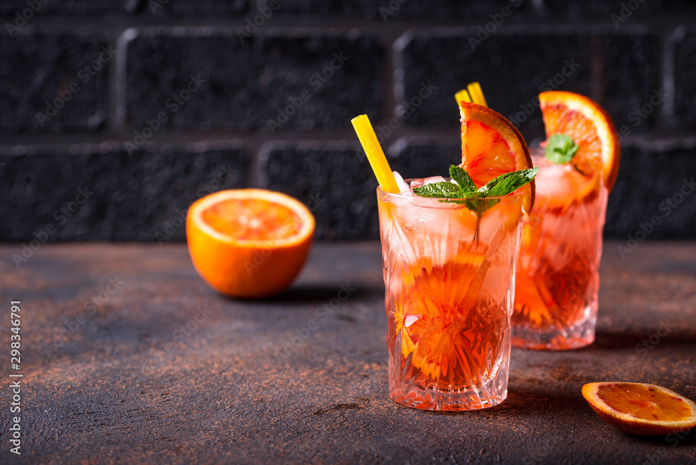 Fototapeta Negroni cocktail with orange and ice