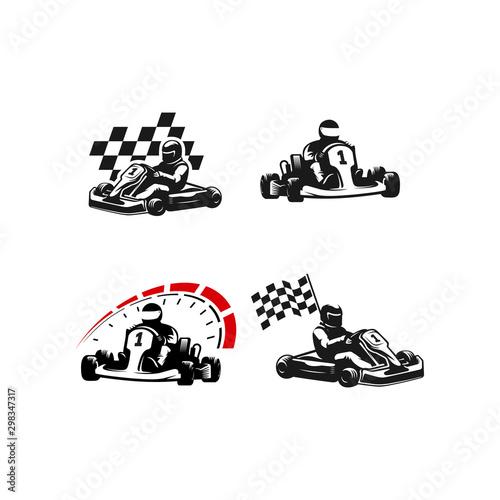 Go kart silhouette logo set Wall mural
