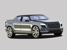 Pickup Vector Grey Realistic Vector Illustration Isolated