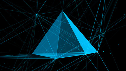 Digital plexus with pyramid form of glowing lines and dots. Abstract futuristic background. 3D rendering. Network.