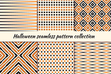 Halloween Seamless Pattern Collection. Holiday Backgrounds Set. Print Kit In Traditional Colors. Vector Digital Paper.