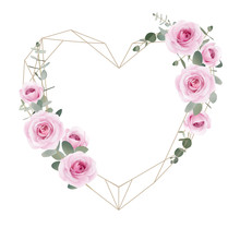 Beautiful Love Frame Background With Floral Pink Roses And Eucalyptus Leaf