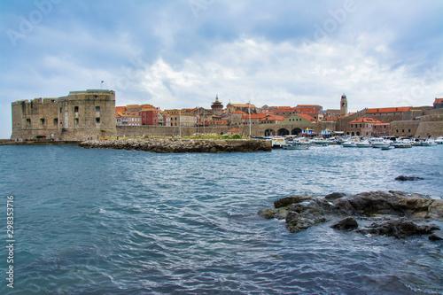 Fototapeta panorama miasta Dubrownik, morze Adriatyckie, Chorwacja obraz
