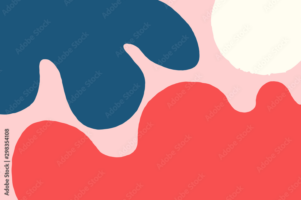 Fototapeta Abstract design with irregular shapes in cream, blue and red on pastel pink background.