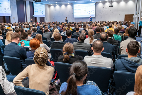 Image of a conference that takes place in a large conference room, workshop for Canvas Print