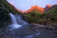 Drakensberg Waterfall At Sunrise