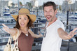 happy couple on the port