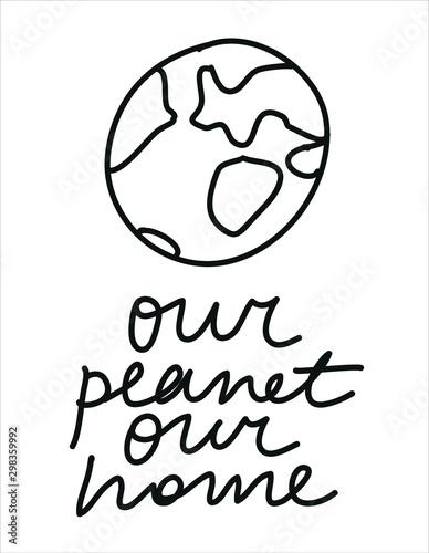 Minimalist vector illustration with planet Canvas Print