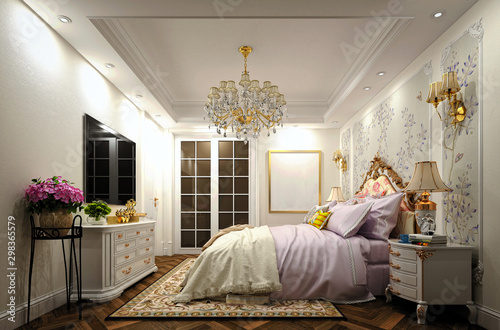 Obraz 3d render of luxury bedroom - fototapety do salonu