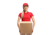 Female Worker Carrying A Box