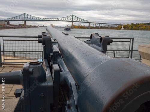 Montreal waterfront canon and bridge