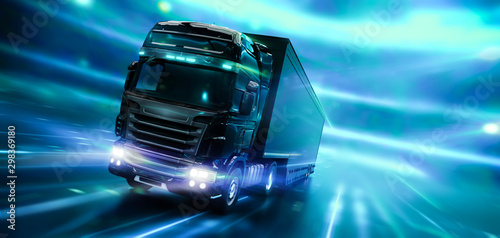 Fototapeta  Modern high speed truck with trailer in motion with technology lights background