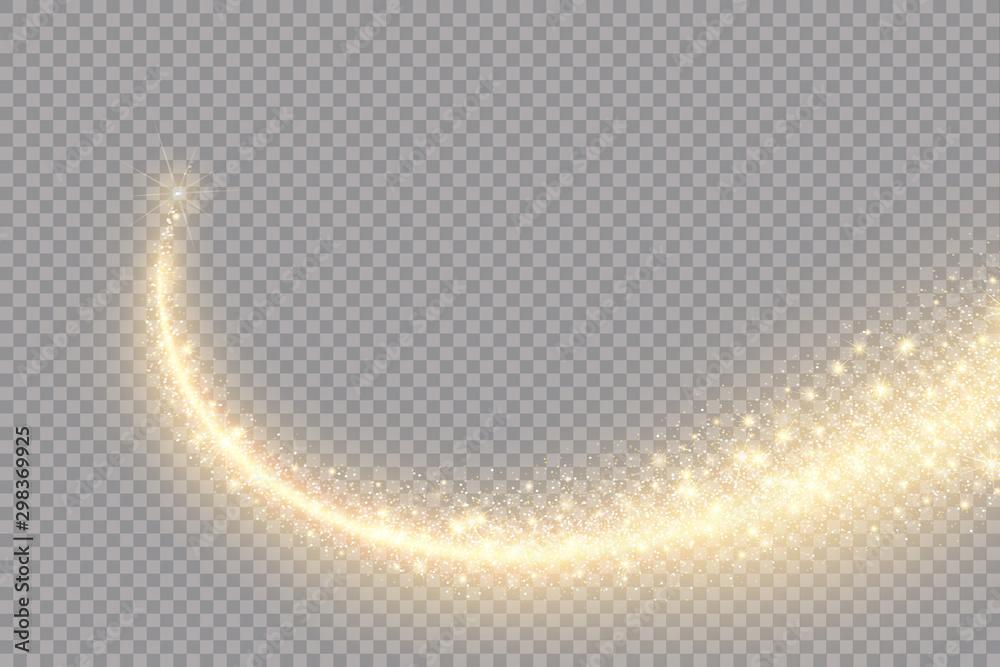 Fototapety, obrazy: Vector golden sparkling falling star. Stardust trail. Cosmic glittering wave.