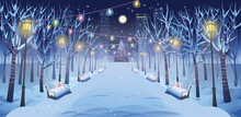 Panorama Road Over The Winter Park With Benches, Trees, Lanterns And A Garland. Vector Illustration Of Winter City Street In Cartoon Style.
