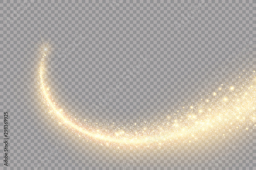 Fototapeta Vector golden sparkling falling star. Stardust trail. Cosmic glittering wave. obraz