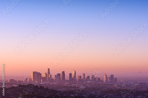 Photo  Los Angeles at foggy sunrise