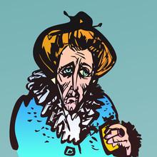 Illustration Of Old Sad Woman