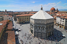 View From Cathedral Of Santa Maria Del Fiore In Florence On The Baptistry, Italy.