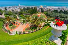 The Bahai Gardens And Temple, On The Slopes Of The Carmel Mountain, In Haifa, Israel.