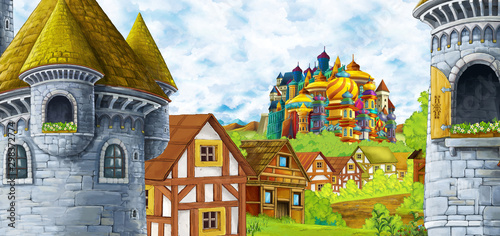 cartoon scene with farm village and mountains valley near the forest illustration for children