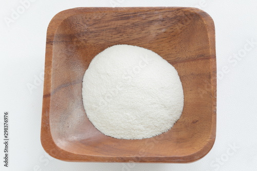 White agar powder on wooden plate for cooking image Wallpaper Mural