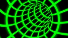 Fly Inside Green Digital Tunnel Grid In Connected Secure Computer Network - Abstract Background Texture