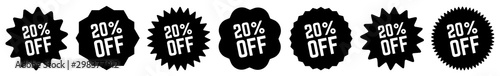 20 Percent OFF Discount Tag Black | Special Offer Icon | Sale Sticker | Deal Lab Wallpaper Mural