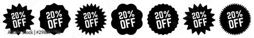 Papel de parede  20 Percent OFF Discount Tag Black | Special Offer Icon | Sale Sticker | Deal Lab