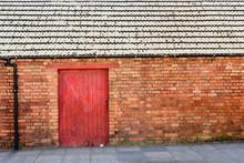 Old Wooden Door Gate In Red Br...