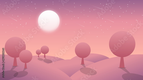 Foto auf AluDibond Rosa Lovey Colorful abstract night background with moon and mountain landscape scenery