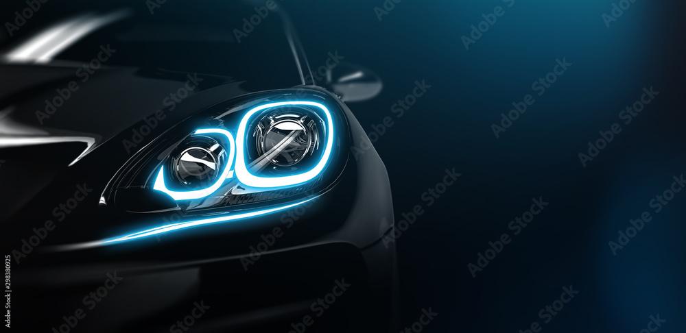 Fototapety, obrazy: Modern car headlight close up scene (3D Illustration)
