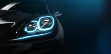 Modern Car Headlight Close Up Scene (3D Illustration)
