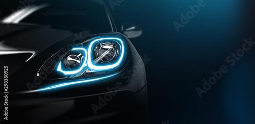 Obraz Modern car headlight close up scene (3D Illustration) - fototapety do salonu