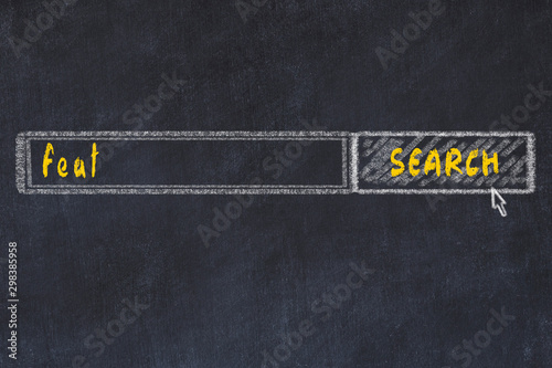 Chalkboard drawing of search browser window and inscription feat Tablou Canvas