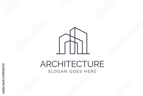 Cuadros en Lienzo Simple modern building architecture logo design with line art skyscraper graphic