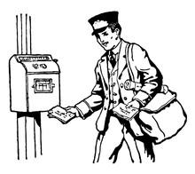 Postman Delivering Mail Vintage Illustration.