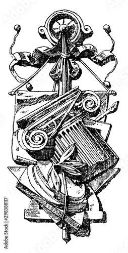 Sculpture Symbol, degrees of subtlety,  vintage engraving. Tapéta, Fotótapéta