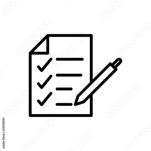 Fototapety, obrazy: report check mark paper pen delivery icon thick line
