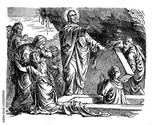 Photo The Resurrection of Lazarus of Bethany vintage illustration.