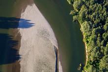 Aerial Photo Of Gravel Bars On The Drava River, Croatia