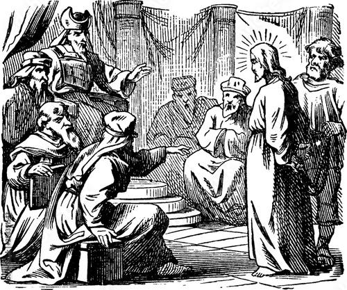 Fotografie, Tablou The Sanhedrin Trial of Jesus - He is Taken Before Annas, the Former High Priest vintage illustration