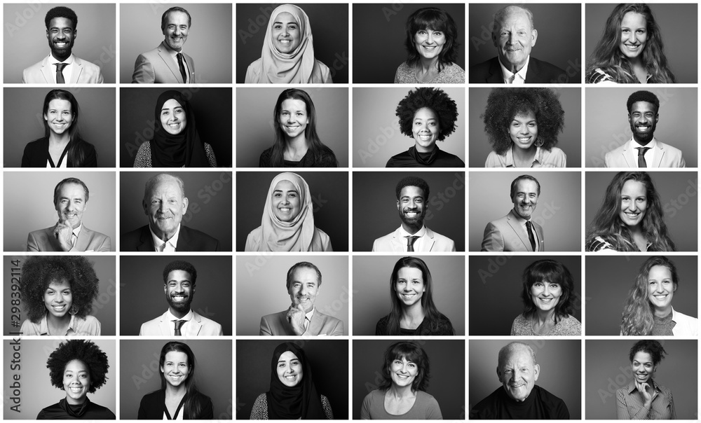 Fototapety, obrazy: Group of 9 beautiful people in front of a background