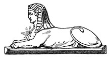 Modern Crouching Sphinx Is A Modern Design Of The Bust Of A Woman And The Body Of A Lion, Vintage Engraving.