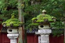 Stone Lanterns With Green Hat