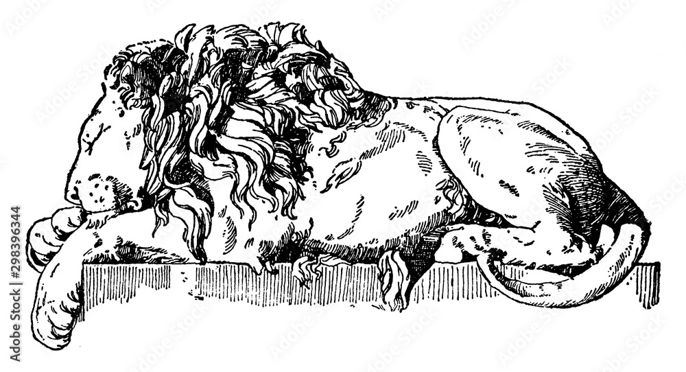 Fototapeta Sleeping Lion is a monument to Pope Clement XIII is found in St. Peter's, vintage engraving.