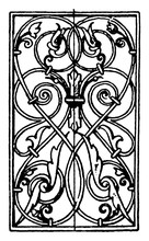 Wrought-Iron Oblong Panel Is German Renaissance Design, Vintage Engraving.