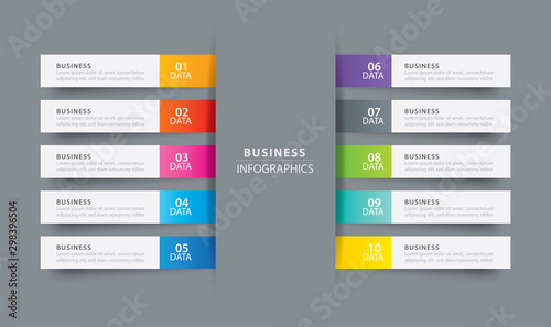 Obraz Infographics tab index in horizontal paper index with 10 data template. Vector illustration abstract background. Can be used for workflow layout, business step, banner, web design. - fototapety do salonu