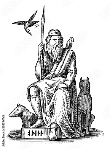 Woden or Odin, Germanic and Norse God, Seated with His Wolves and Crows vintage illustration Wallpaper Mural